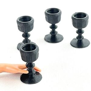 Wine Glasses For Barbie Size Doll 1:6 Scale Set Of 4 Black Gothic Diorama