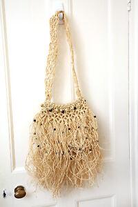 New Vintage  Beach Bag  Rattan Bag Wood Handle Straw Bag Portable Handmade