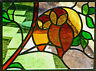 Framed Print - Stained Glass Window of Two Owls (Abstract Picture Animal Bird)