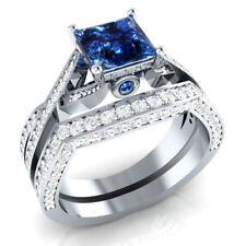 Certified 3 Ct Blue Sapphire & Diamond 14k White Gold Bridal Engagement Ring Set