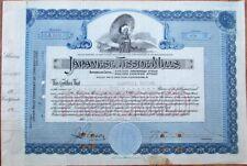 Japanese Tissue Mills 1919 Stock Certificate w/Geisha Girl & Umbrella - Japan
