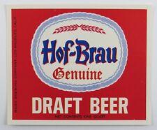 Vintage Hof Brau Draft Beer Bottle Label Maier Brewing Co Los Angeles California