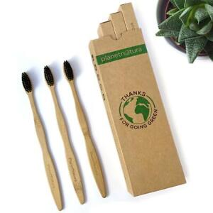 PlanetNatura 4 pack - Bamboo Toothbrush - Eco-friendly Organic Med/Soft biodegra