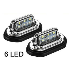 White LED 12V 24V License Plate Light Bulbs Car Truck Exterior Signal Lamp 2Psc