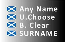 """SMALL"" Rally Decals, Name Stickers Scotland Flag 20mm Tall (F2)"