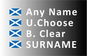 """""""SMALL"""" Rally Decals, Name Stickers Scotland Flag 20mm Tall (F2)"""