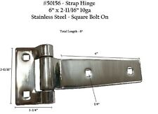 TWO Strap Hinges Stainless Steel Square Bolt On 50156