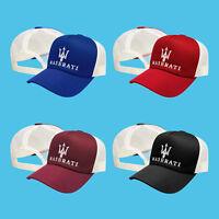bbb710592 Maserati Trucker Mesh Baseball Cap Embroidered Auto Logo Hat Unisex Mens  Women