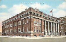 Vintage Linen Postcard; Tebala Shrine Masonic Temple, Rockford IL Winnebago Co