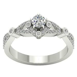 Solitaire Anniversary Ring I1 G 0.65Ct Natural Halo Diamond 14K Solid Gold 7.8mm