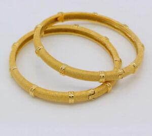 Dubai Real18 Ct Gold Plated Guaranteed Bangle Breclet 2 Karra Indian Bridal Arab