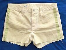 GAP 1969 Womens Shorts Size 25 AU 6 -8 Slim Cut-Offs Stretch Yellow Green Rustic