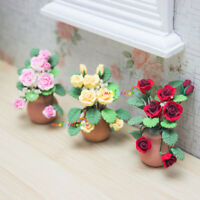 Potted Rose Plant Clay Handcrafted Dolls House Miniatures Decoration 1:12 Garden