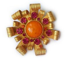 Aurientis Large Flower Brooch with Gripoix Cabochon, Crystals & Gilt Petals
