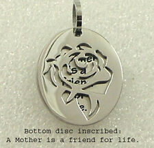 """Mom Necklace """"A Mother is a Friend for Life"""" Silver Stainless Steel Flower Rose"""