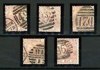 GB  QV 1873/80 2½d mauve plates 4, 8, 11, 12 and 14 sg141 cv£400 (5v) FU Stamps