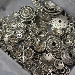 50g Torus Vintage Silver Flower Bead Caps Spacer Beads DIY Jewellery Making