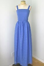 VGC Vtg 70s Mod Periwinkle Blue Poly Knit Maxi Festival Dress Lace Skirt 8