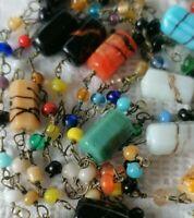 Vintage Art Deco Colourful Venetian Splatter Glass End Day Bead Flapper Necklace