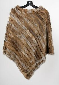 Catch Me Paris Brown Women's Rabbit Fur Blend Asymmetric Sweater Fur Poncho