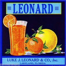 Lakeland Florida Leonard Juice Orange Citrus Fruit Crate Label Art Print