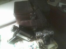 Vintage Minolta Camera and Chinon Video Camera with Leather Case