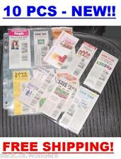 (10) Coupon Sleeves Pages for Binder 6 Pockets - NEW!!! Trading Cards Protector