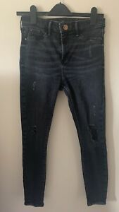 Ladies River Island Molly Black Ripped Knees Skinny Jeans Distressed Size 12 R