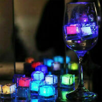 12Pcs Party Decorative LED Ice Cubes Light Multi-Color Liquid Sensor Ice Decor
