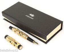 JINHAO DOUBLE DRAGON ANTIQUE DESIGNER GOLDEN FOUNTAIN PEN NEW