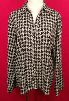 Apt. 9 NWOT Sz XL Black and White Print Button Front Long Sleeves Top