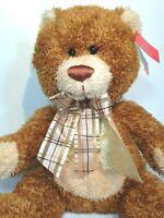 """Aurora Teddy Bear Stuffed Animal Medium Brown Sugar Plush Toy Plaid Bow 12"""" NWT"""