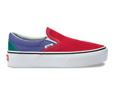 VANS SLIP ON (TRI COLOR) PLATFORM RED PURPLE GREEN SHOES SZ 8.5 WOMENS NIB NEW⚡️