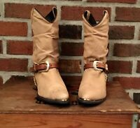 Women's Dingo Olivia Tan leather slouch cowgirl boots Gold harness/tips sz 8.5