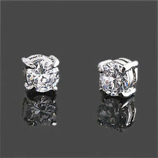 BEST Quality Men Unisex 6mm Clear CZ Studs Magnetic Earrings 18K Platinum Plated