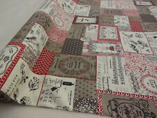 COTTON CANVAS PRINT  FABRIC +++ VINTAGE LABELS + BEIGE