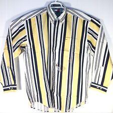 VTG TOMMY HILFIGER L/S Vertical Striped Button Down Shirt 90s Crest Mens XL NEW
