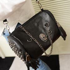 Women Punk Skull Rivet Tassels Shoulder Bag Handbag Crossbody Satchel Tote Purse