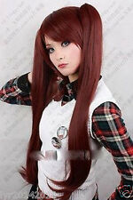 Another Akazawa Izumi red brown Cosplay Wigs +2 Clip On Ponytail + gift