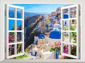Santorini Greece 3D Effect Window View Wall Sticker Decal Poster Vinyl Mural Art