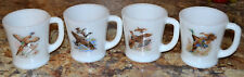 ~MINTY~ 4 VINTAGE FIRE KING MILK GLASS GAME BIRD D-HANDLE COFFEE MUG, CUP SET