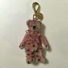 Auth PRADA Charm Keychain Rhinestone Bear Pink Beige Ladies used