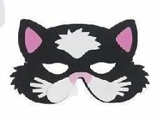 BLACK CAT MASK (PINK EARS), CHILDRENS EVA FOAM ANIMAL MASKS, FANCY DRESS