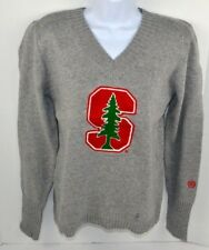 NCAA Stanford Cardinal Women's Chenille Letter V-Neck Sweater, Gray XL
