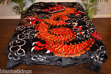 NEW 5 POUNDS SOFT QUEEN KOREAN MINK BLANKET Plush Throw RED DRAGON CHINESE ASIA
