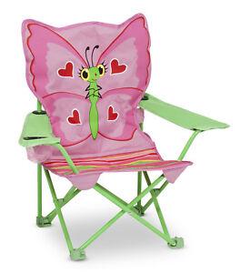 Chaise pour Enfant de Camping Papillon Pliable Siège D'Enfant Rose Pliante