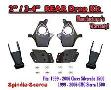 "1999 - 2007 Chevrolet Silverado / GMC Sierra 1500 2"" / 4"" Drop Kit 2/4 Spindles"