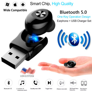 Bluetooth 5.0 Headset Wireless Earphone Mini Earbud Stereo In-Ear Headphone Mic