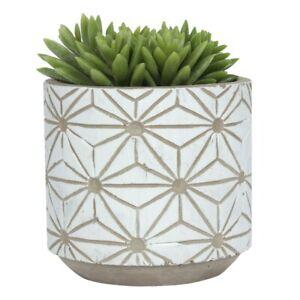 White Geometric Patterned Plant Pot, Indoor Planter, Modern Home Decor