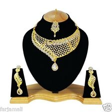 Party Wear Designer Bollywood Style Gold Plated Zerconic Kundan Necklace Set